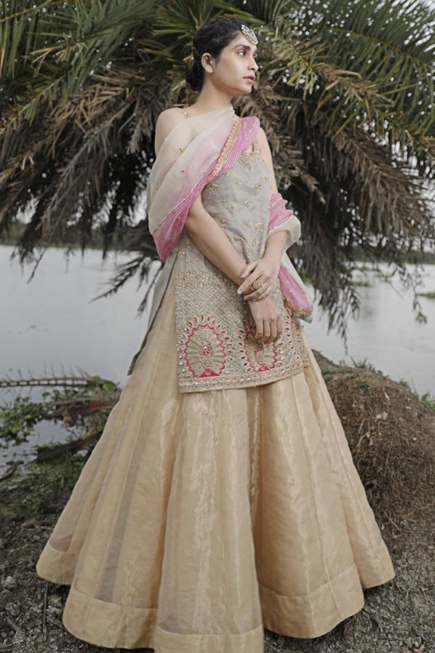 Chanderi Kurta & Lehenga Set