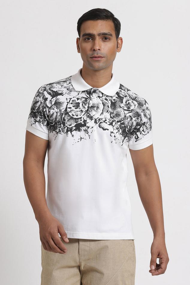 Regius Floral Print Polo T-Shirt
