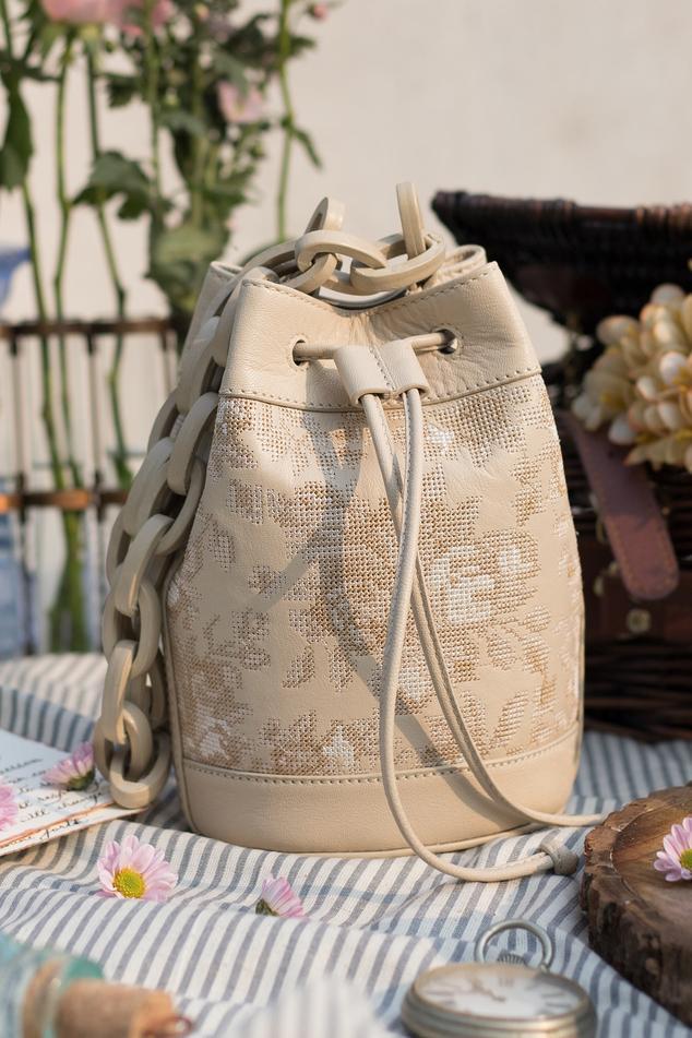 Embroidered Bucket Bag