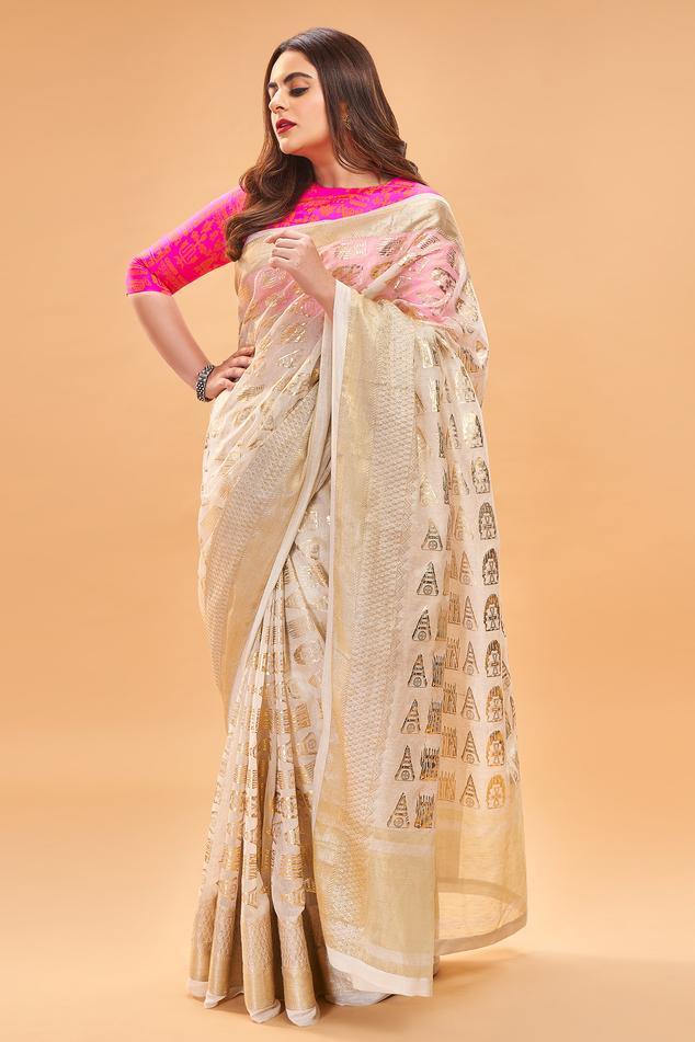Banarasi Saree with Unstitched Blouse Fabric