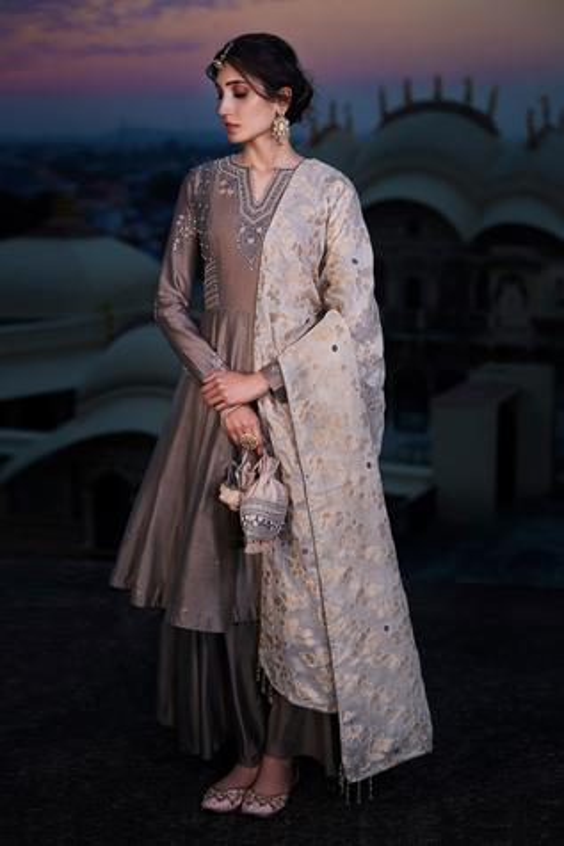 Chanderi Silk Kurta Gharara Set