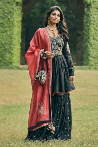Chanderi Silk Embroidered Kurta & Sharara Set