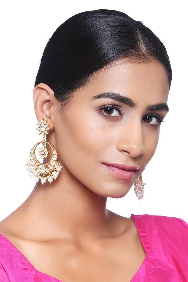 Floral Kundan Chandbalis