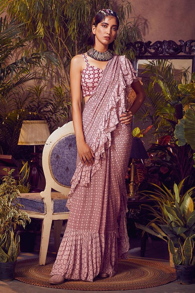 Printed Pre-Draped Saree Set