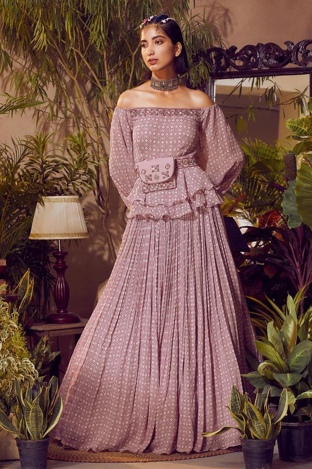 Printed Peplum Top & Skirt Set