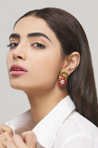 Hand Embroidered Circular Statement Stud Earrings