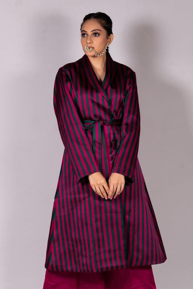 Handwoven Satin Silk Striped Jacket
