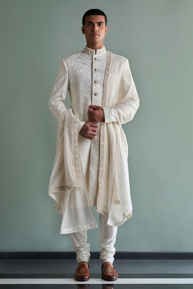 Silk Jacquard Sherwani Set