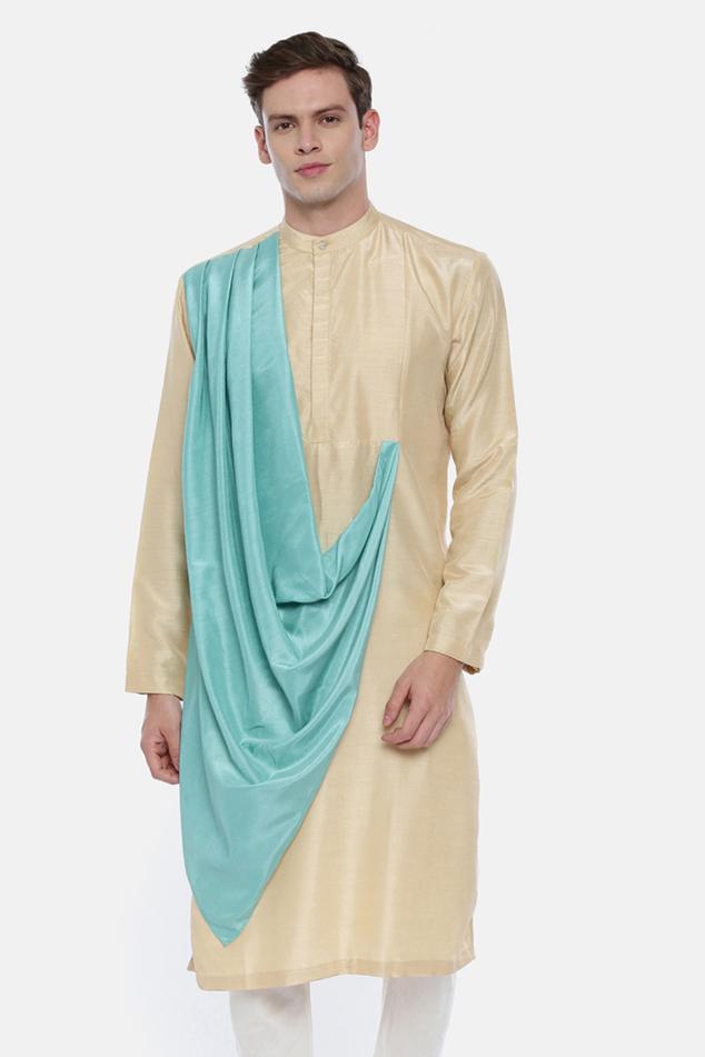 Silk Draped Kurta Set
