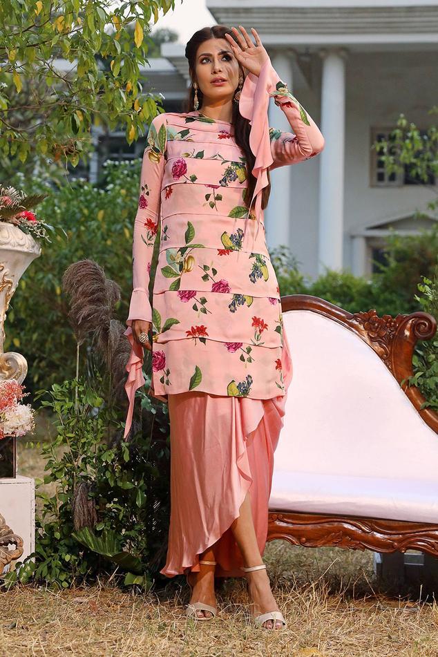 Printed Kurta & Dhoti Skirt Set