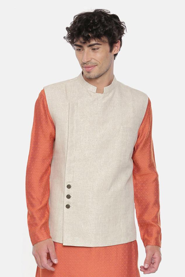 Linen Overlap Nehru Jacket