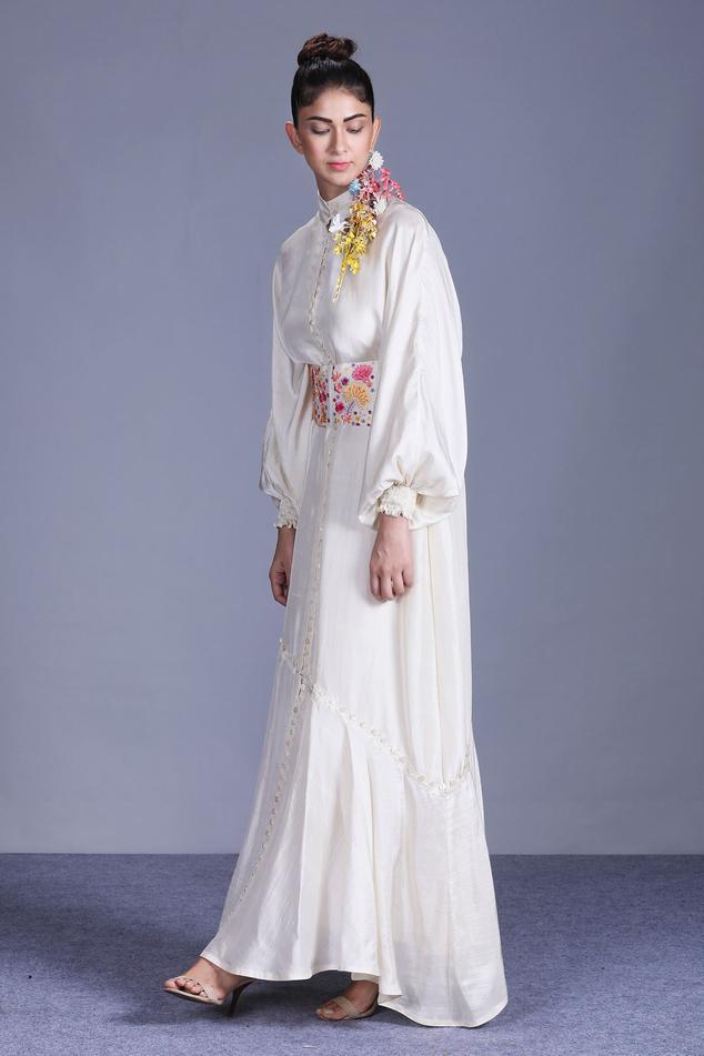 Bishop Sleeve Gown with Belt