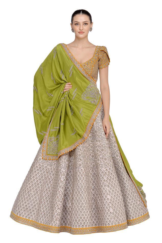 Zardozi Embroidered Silk Lehenga Set