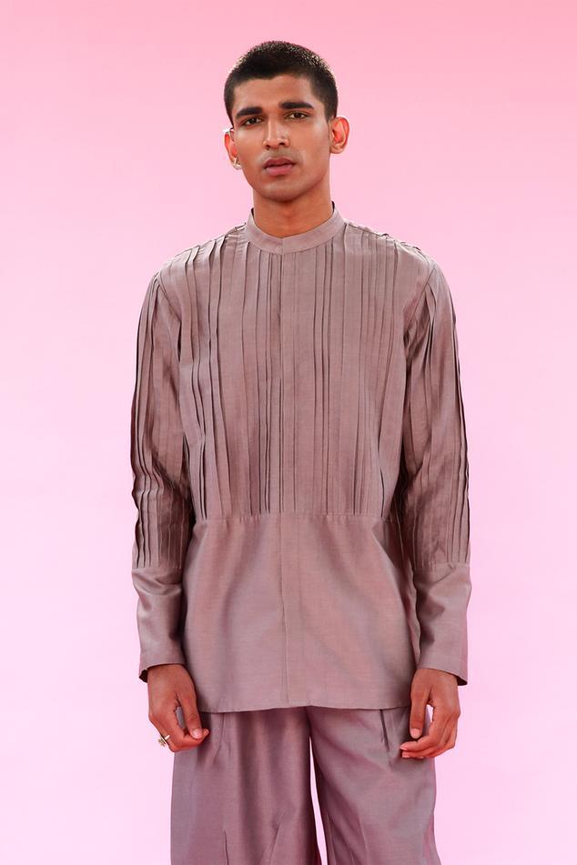 Cotton Silk Pintuck Kurta