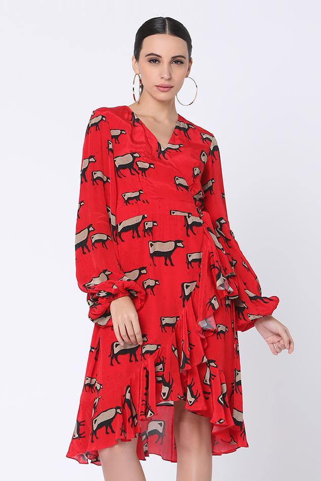 Ruffle Printed Wrap Dress