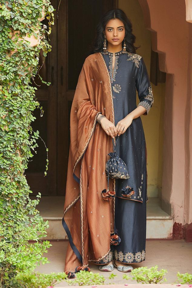 Chanderi Silk Embroidered Kurta Set