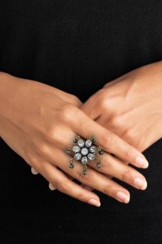 Antique Stone Floral Ring
