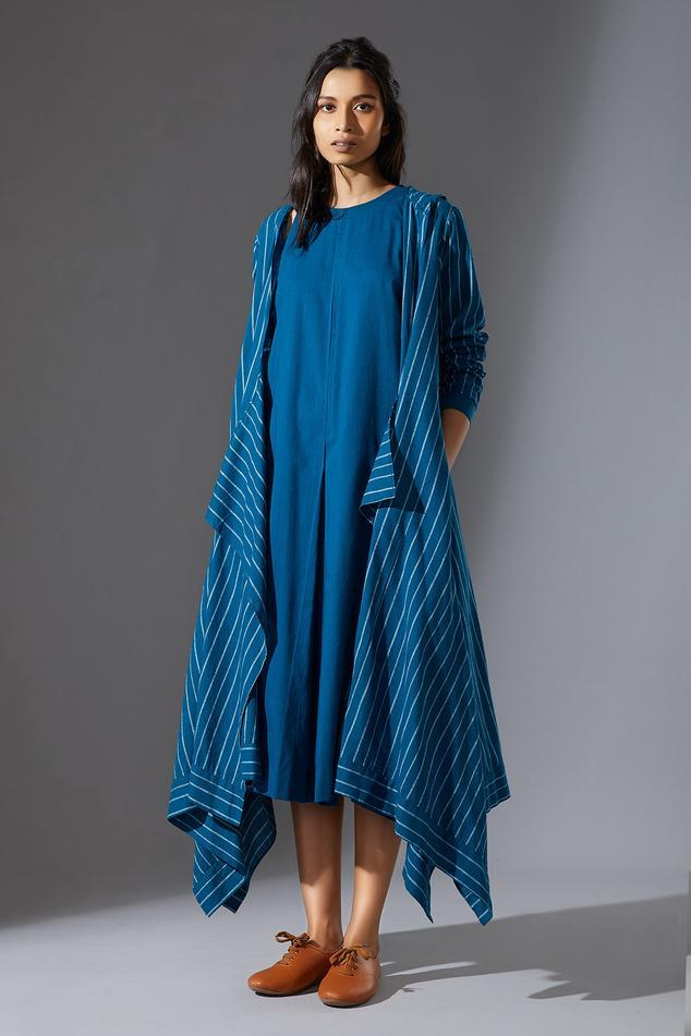 Handwoven Hoodie Koza Jacket with Dress