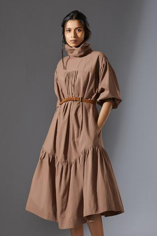 Handwoven High Collar Praci Midi Dress