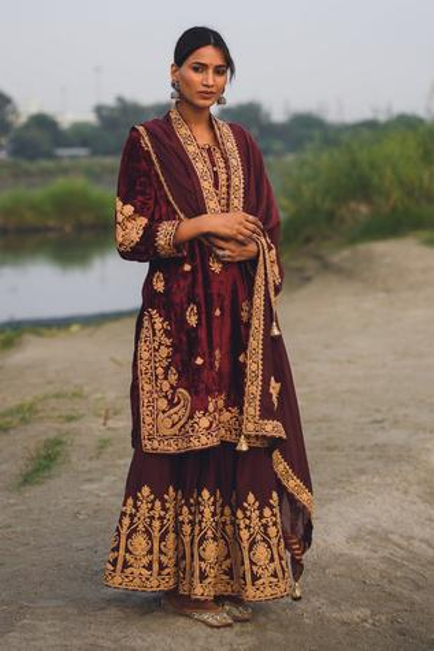 Velvet Embroidered Kurta Set