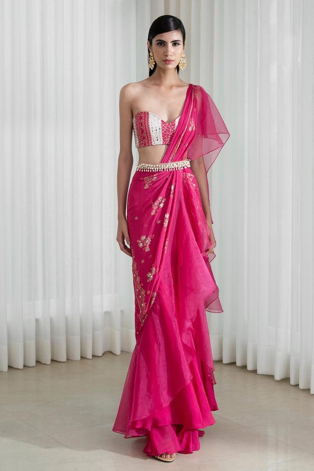 Foil Print Draped Saree with Blouse