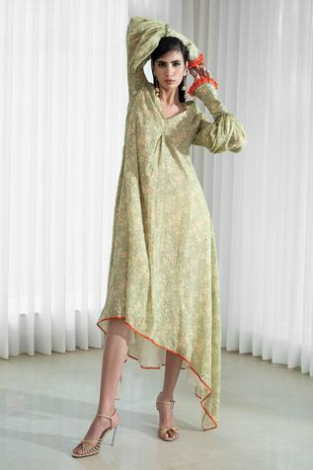 Asymmetric Printed Tunic Dress