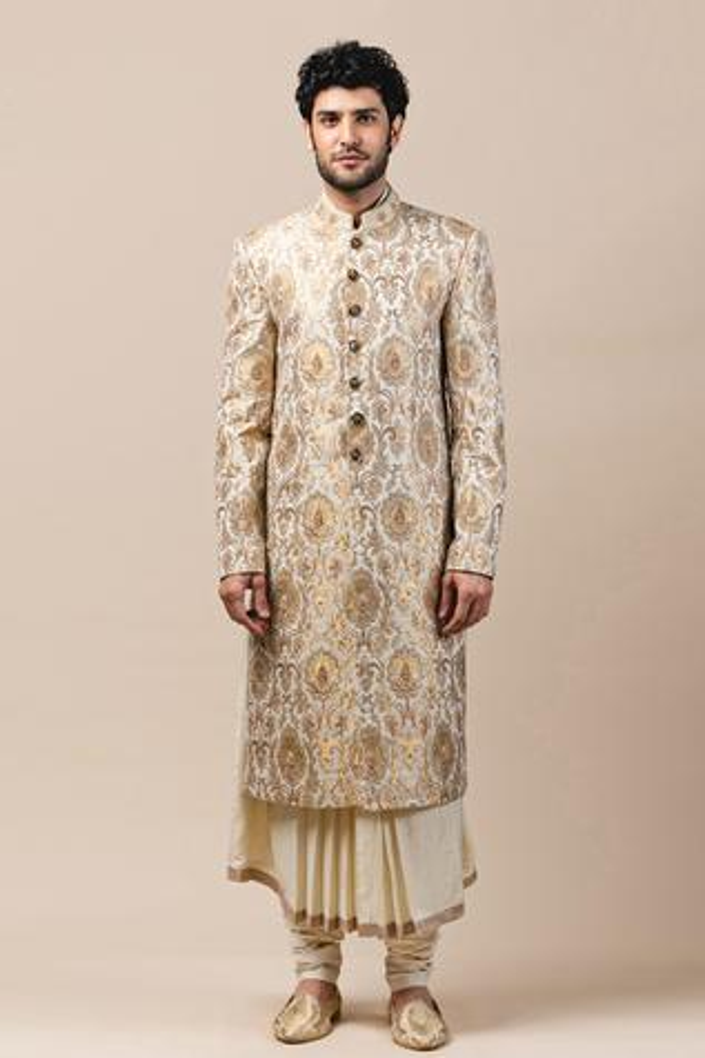 Brocade Sherwani & Silk Kurta Set
