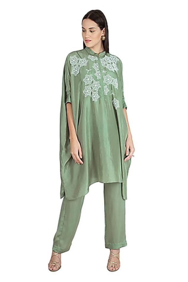Silk Embroidered Kaftan Pant Set