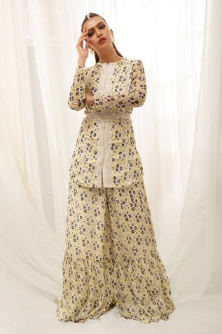 Floral Print Tunic with Flared Pant