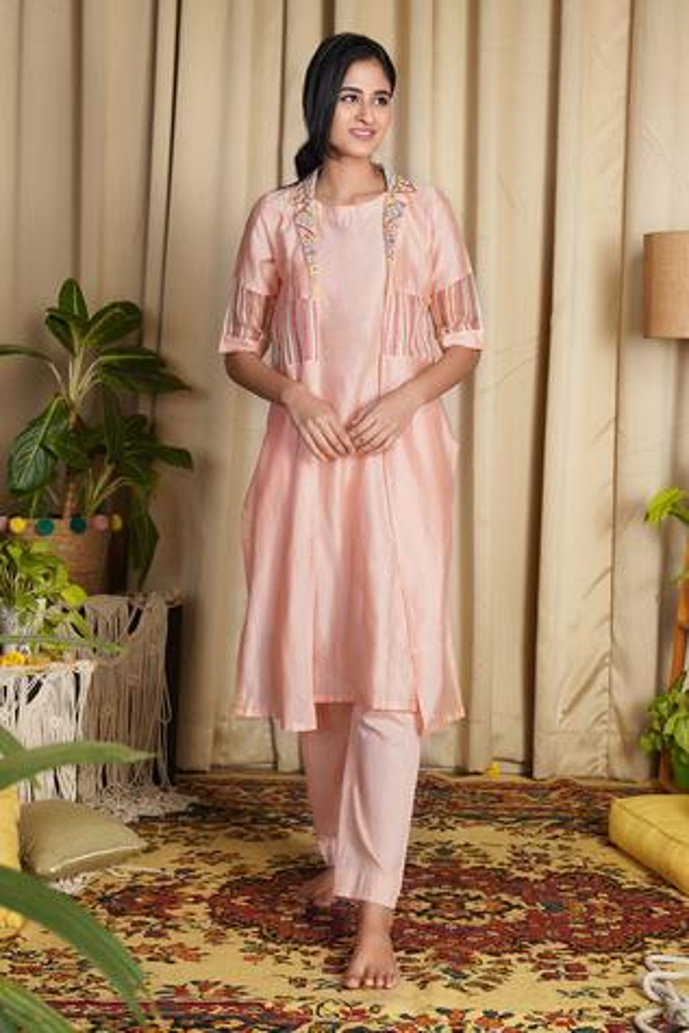 Chanderi Silk Jacket & Kurta Set