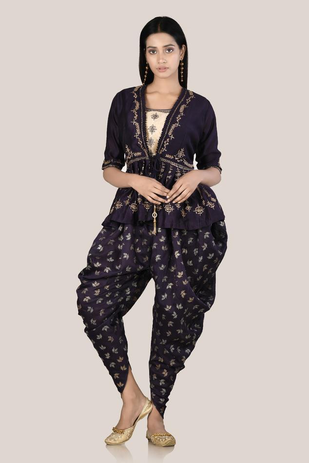 Silk Embroidered Dhoti Pant Set