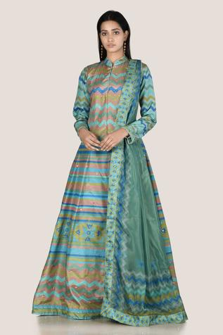 Silk Printed Anarkali with Dupatta