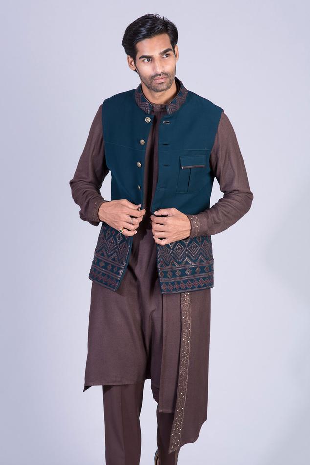 Embroidered Bundi & Draped Kurta Set