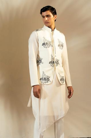 Linen Embroidered Nehru Jacket