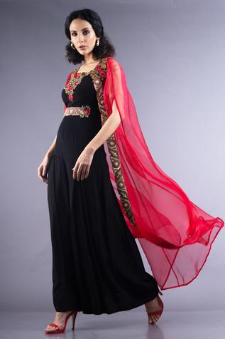 Organza Cape with Flared Jumpsuit