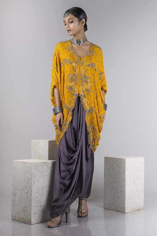 Silk Asymmetric Jacket & Draped Skirt Set