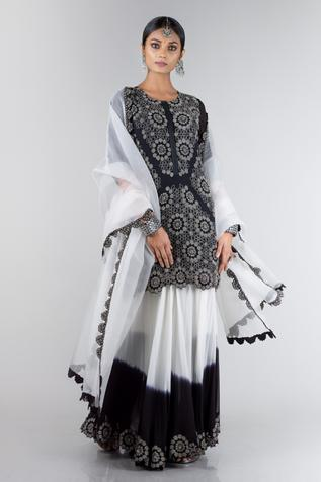 Embroidered Kurta Gharara Set