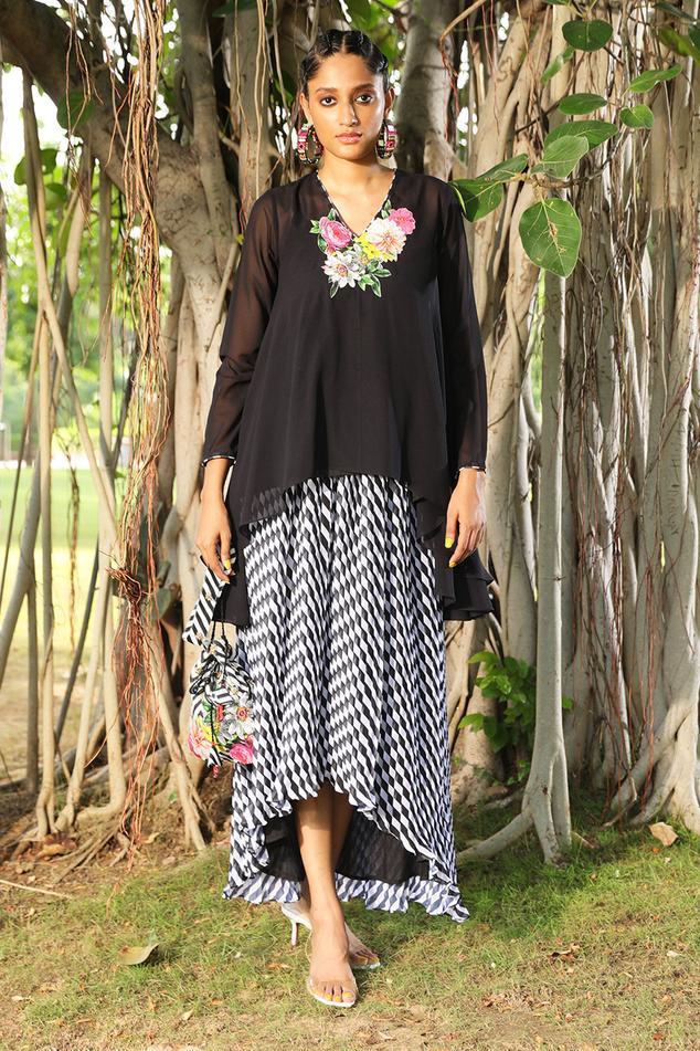 Asymmetric Tunic & Skirt Set