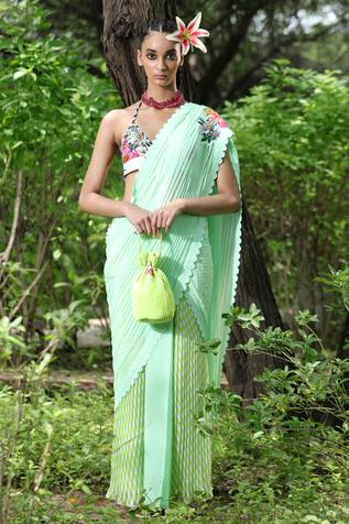 Pre-Draped Saree with Unstitched Blouse Fabric