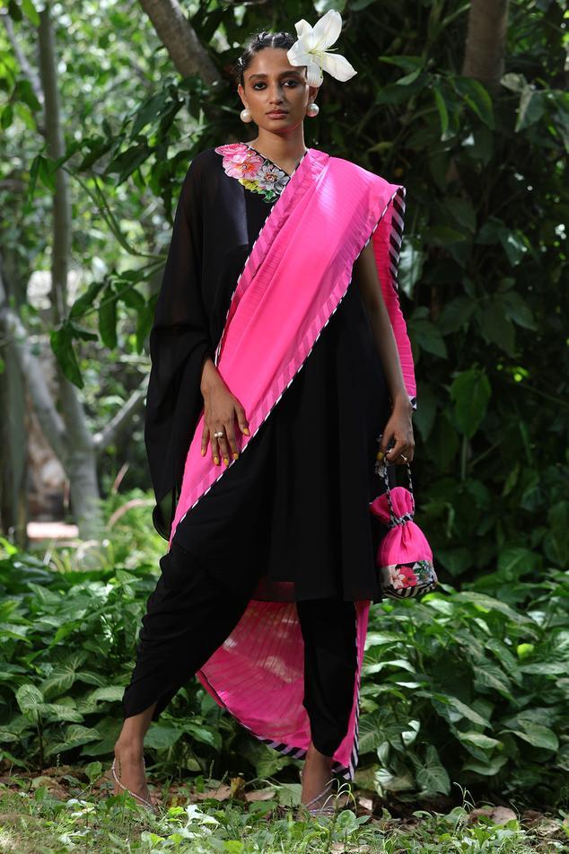Pre-Draped Dhoti Pant Saree Set
