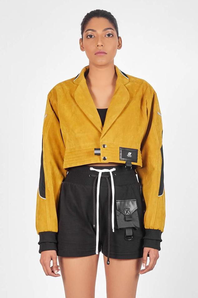 Notched Lapel Cropped Jacket