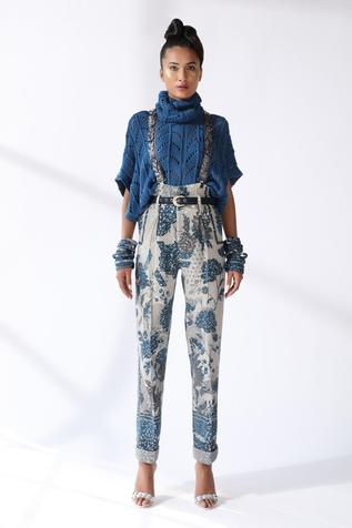 Printed & Sequin Embroidered Pant