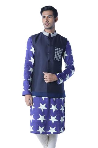 Embroidered Silk Bundi & Kurta Set