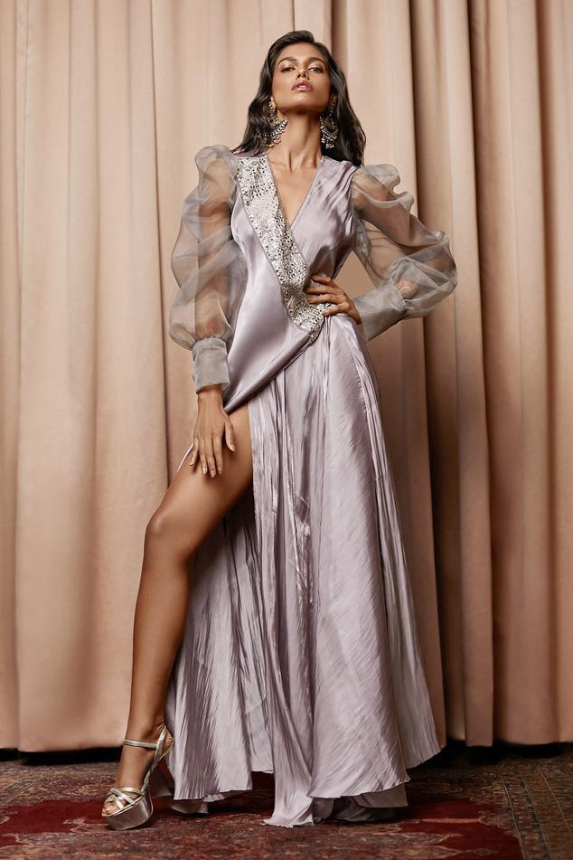 Satin Embellished Gown