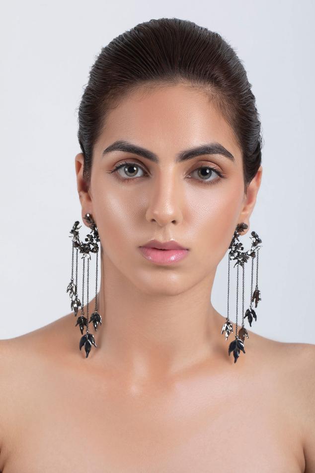 Handcrafted Chain Tassel Hoop Long Earrings