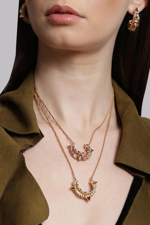 Crystal Crescent Pendant Necklace (Single Pc)