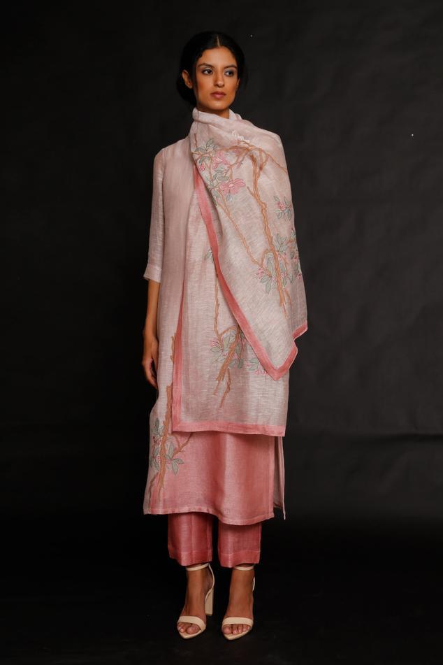 Handloom Linen Silk Embroidered Kurta Set