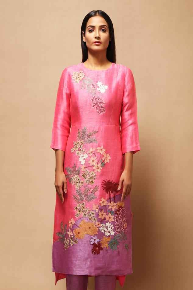 Handloom Linen Silk Applique Kurta & Pant Set