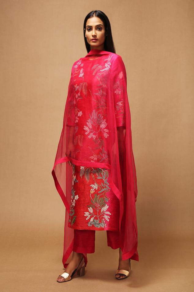 Handloom Linen Silk Applique Kurta Set