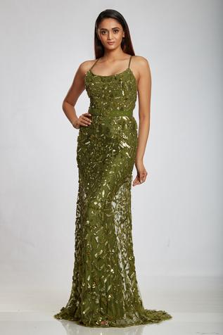 Embellished Backless Gown